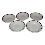Homer Laughlin Restaurant Ware Fruit Dessert Bowls White with Burgundy Trim