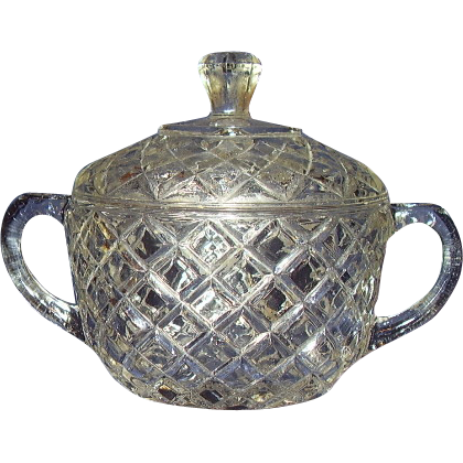 Hocking Waterford Waffle Sugar Bowl with Domed Lid Depression Glass