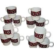 Milk Glass Stacking Mugs Set of 12 Red and Black Flower Designs