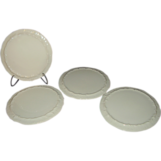 Rynne China Set of 4 Porcelain White Embossed Trivets ~ Japan