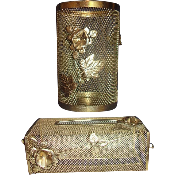 Vintage Vanity Waste Can and Tissue Box Holder Set Metal Mesh Florals 1960s