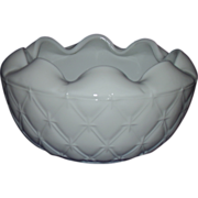 Indiana Glass Duette Milk Glass Rose Bowl Crimped Edge Quilted Diamond Designs