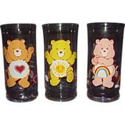 Care Bear Glasses dated 1983 Cheer Bear, Funshine Bear, Tenderheart Bear from Pizza Hut