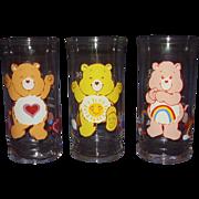Care Bear Glasses dated 1983 Cheer Bear, Funshine Bear, Tenderheart Bear from Pizza Hut