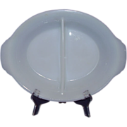 Fire King White 2 Part Divided Dish 488 - Made 1942 to 1945