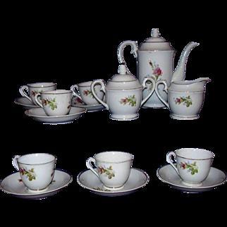 Moss Rose Vintage China Tea Set or Demitasse Coffee Set Japan 17 Pieces 1950s