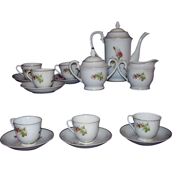Moss Rose Vintage China Tea Set or Demitasse Coffee Set Japan 17 Pieces 1950s