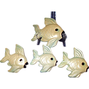 Miller Studio Chalkware Fish Wall Plaques Set of 4 dated 1960