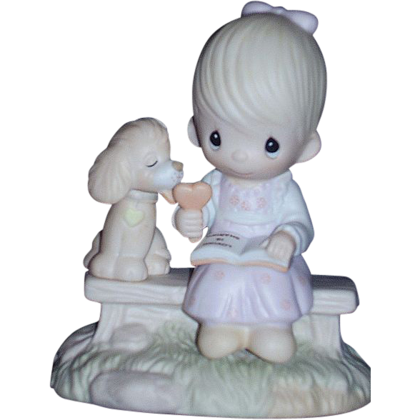 Precious Moments Loving is Sharing 1979 Girl with Dog Figurine E-3110/G