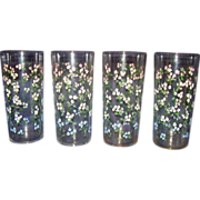 Federal Glass Beverage Set of 4 with Dainty Pink White Blue Flowers