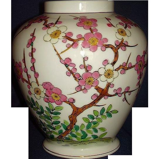 Norleans Pink Dogwood Tree Ginger Jar Porcelain Vase Japan