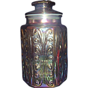 Iridescent Imperial Glass Atterbury Scroll Canister Apothecary Jar with Sealable Lid
