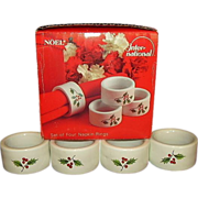 Noel Porcelain Napkin Rings International China Holly Leaves Red Berries Set of 4 Original Box
