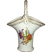Royal Europe Peinte a la Main Porcelain Basket Vase Handpainted Florals with Gold Gilt Accents