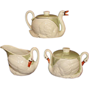 Czechoslovakia Green Lustre Ware Swan Teapot, Creamer, Covered Sugar Set