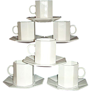 Arcopal France Novoctime White Demitasse Set 6 Octagonal Cups and Saucers