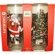 Santa Claus, Christmas Tree and Santa in Sleigh with Reindeer Beverage Glasses Set of 4 MIB Luminarc 1992