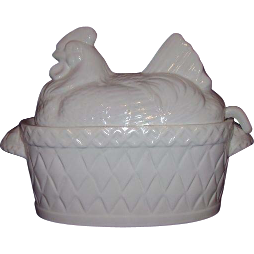 White Hen on Nest Large Covered Tureen with Ladle Himark Japan