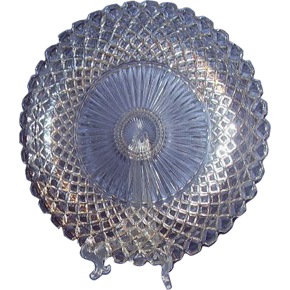 Hocking Waterford Waffle Sandwich Plate Depression Glass Large 14 Inches