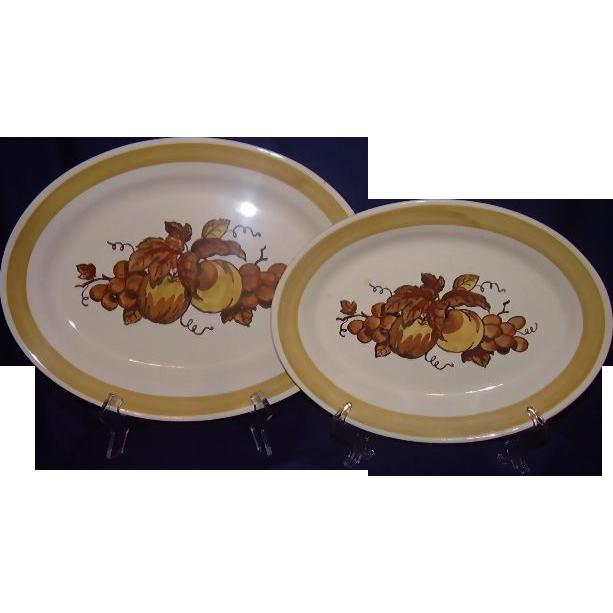 Metlox Poppytrail Golden Fruit Oval Platters California 1960-71 Set of 2