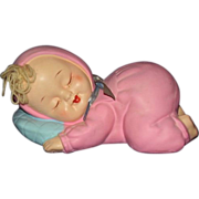 Girl Baby Bank Sleeping Blonde in Pink Sleeper