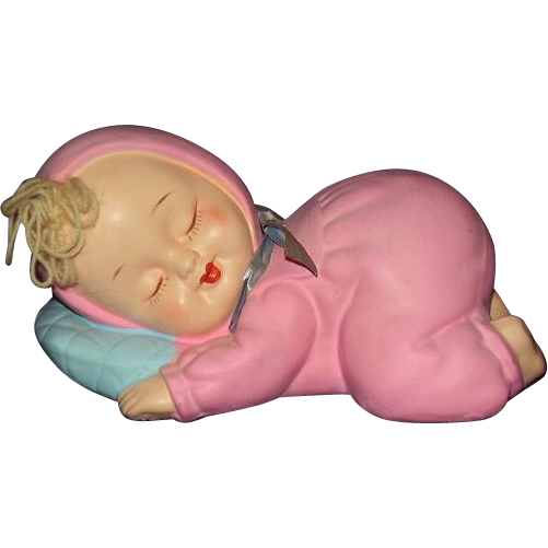 Girl Baby Bank Sleeping Blonde in Pink Sleeper