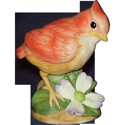 Andrea Baby Cardinal Porcelain Figurine with Dogwood Blossom 9601 Sadek
