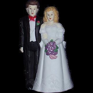 Bride and Groom Wedding Cake Topper Bisque Porcelain 1980s