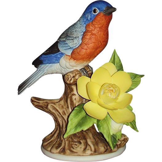 Blue Bird Porcelain Sculpture Andrea by Sadek 9611 Dated 1990