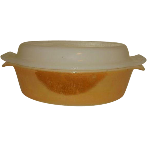 Fire King Copper Tint Milk Glass Oval Covered Casserole 433