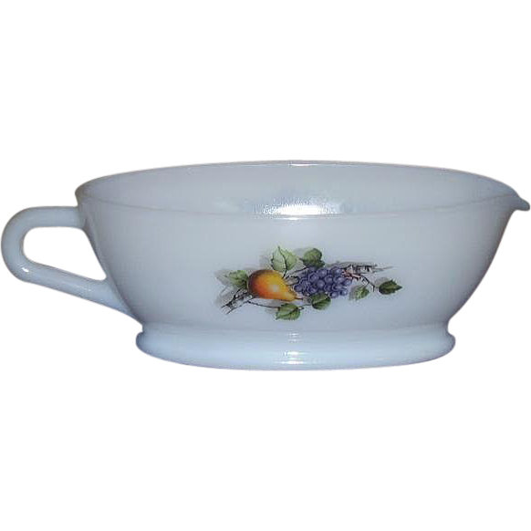 Arcopal Fruits De France Milk Glass Gravy Boat 1970s