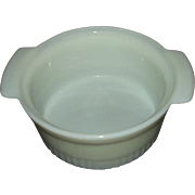 Fire King White Milk Glass Soufflé Dish 1 Quart 1970s