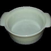 Fire King White Milk Glass Soufflé Dish 1 Quart 1970s