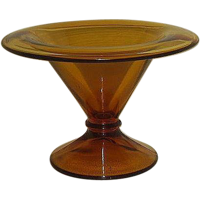 Amber Glass Funnel Shaped Footed Compote 1970s