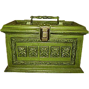 Max Klein Vintage Sewing Chest Removable Tray Avocado Green 1970s
