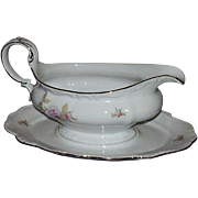 Johann Haviland Gravy Boat Attached Underplate Michelene Pink Roses Pattern