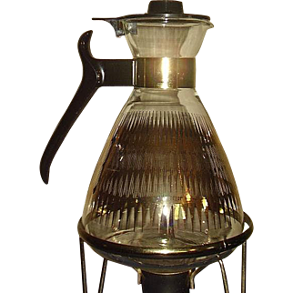 Mid Century Modern Glass Coffee Tea Carafe with Warming Stand 1950-60's
