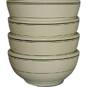 McNicol China Restaurant Ware Coupe Cereal Bowls MCN 7 Set of 4 Green Lines Rim Border on Solid White