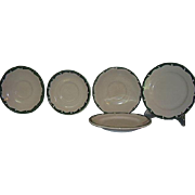 Sterling Restaurant Ware Green Crest Wave Green Wave 5 Piece Grouping 3 Saucers 2 Bread and Butter Plates