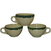 Syracuse Restaurant Ware Wintergreen Coffee Cups 3 Piece Grouping