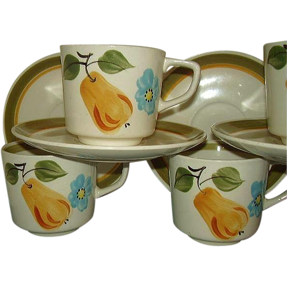 Norleans Japan McIntosh Pear Pattern 10 Piece Grouping 5 Cup and Saucer Sets Hand Painted 1970s Colors