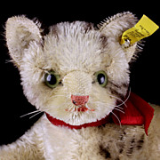 Rare Steiff '50s Reclining Fiffy Cat Kitten 2 IDs (Earliest Number)