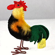 Tiniest and Earliest Post-WWII Steiff Mohair Rooster Bird Metal Legs All ID - Red Tag Sale Item