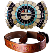 J.D. Massie Zuni Sun Face Silver Turquoise Mother of Pearl Jet Coral Belt Buckle PLUS Hand Tooled Leather Belt