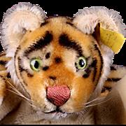 Handsome Steiff Mohair Tiger Wild Cat Hand Puppet 2 IDs Glass Eyes