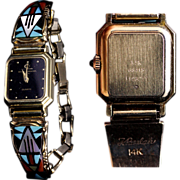 14K Gold Baume & Mercier Ladies Wrist Watch & Bracelet by Navajo Goldsmith Tim Bedah & Zuni Lapidarist Viola Eriacho