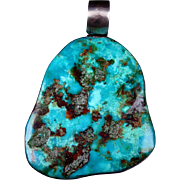 Estate Item HUGE Slab of Pilot Mountain Mine Turquoise Formed into a Pendant with Sterling Silver Unbelievable Size and Color