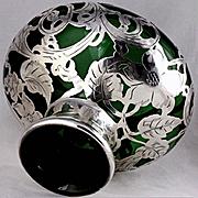 Antique Green Glass La Pierre Sterling Silver Overlay Vase Beautiful Art Nouveau Floral Design