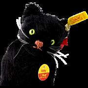 Tiny Steiff Black Mohair Seated KITTY Cat Kitten All ID