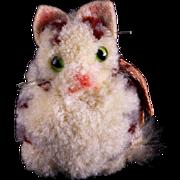 Rare Steiff Teeny Tiny Wool Miniature PomPom Calico Cat Glass Eyes Swivel Head Amazingly Realistic
